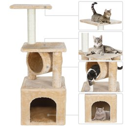 Wholesale cat towers online – design 36 Inch Cat Tree Tower Activity Center Large Playing Condo Cat Tree Bed Furniture Scratching Tower Kitten Pet House Beige