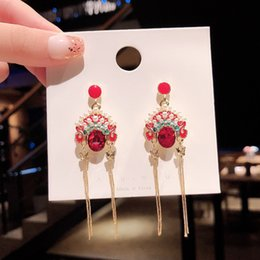 $enCountryForm.capitalKeyWord Australia - Maxi 925 silver needle Chinese style retro Beijing Opera Facial mask long earrings personality cool earring for party, bar, date, holiday