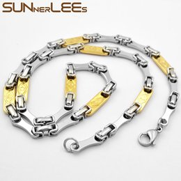 $enCountryForm.capitalKeyWord Australia - SUNNERLEES Fashion Jewelry Stainless Steel Necklace 6mm Geometric Link Chain Silver Gold For Men Women Gift SC110 N