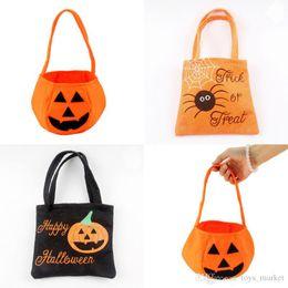 Vente en gros Halloween citrouille Candy Bag Trick or Treat sourire mignon panier visage enfants cadeau Handhold Pouch Tote Bag non-tissé seau Props décoration jouet