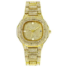 Watches for business online shopping - Bling Diamond Watch For Men Gold Stainless Steel Band Men s Business Quartz Watches Man Waterproof Watch drop shipping
