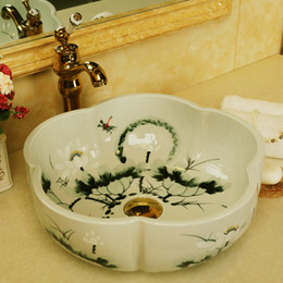basin bowl sink Australia - China Handmade Lavabo Washbasin bathroom sink bowl countertop Flower Shape Ceramic wash basin bathroom sink