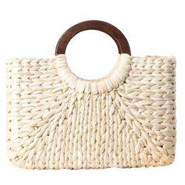 $enCountryForm.capitalKeyWord Australia - Creative Round Handle Straw Women's Tote Bag Natural Corn Husk Handmade Woven Bag Hand Tote For Summer Beach Outdoor Travel
