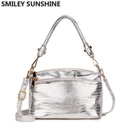 Silver Small Hand Bag Australia - Smiley Sunshine Silver Small Messenger Bag Women's Shoulder Leather Womans Handbag Ladies Hand Bags For Women 2018 Crossbody Bag Y190619