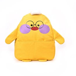 cartoon shape women bags Australia - Women's Cute Cartoon Two-tone Chick Print Shape High Capacity Soft Backpack Canvas Student Bag Outdoor Travel Bag