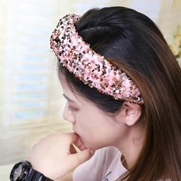 Fairy cards online shopping - Royal Blue Sequin Sponge Headband New Boutique Headband High Grade Fabric Super Shiny Piece Headband Net Red Little Fairy Card