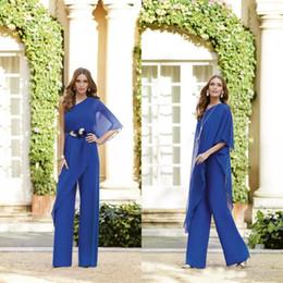 Plus Size Floor Length Suits Australia - Royal Blue Mermaid Mother Of The Bride Dresses Pants Suits One Shoulder Chiffon Floor Length Mothers Wedding Guests Gowns Plus Size Dress