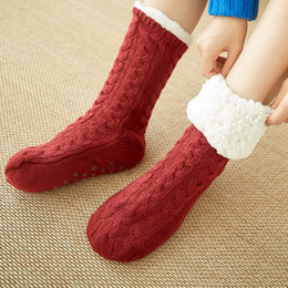 $enCountryForm.capitalKeyWord Australia - Fashion Stocks Female Women Girls Solid Cotton Wool Bed Socks Fluffy Keep Warm Winter Socks Gift Soft Floor Home
