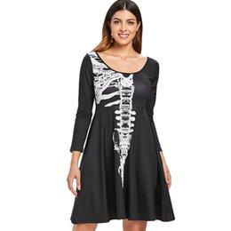 $enCountryForm.capitalKeyWord Australia - Halloween Skeleton Print A Line Dress