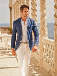 $enCountryForm.capitalKeyWord Australia - 2019 Summer Beach Wedding Suits For Men Casual Blue Men Blazer White Pants Custom Street Groom Prom Best Man Suit Ternos 2 Piece