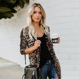 Chinese  Women Sexy Leopard Printed Cardigan Autumn Short Dresses Long Sleeve Button Tunic Cardigan Lady Tops V Neck Cover Up Beach Dress manufacturers