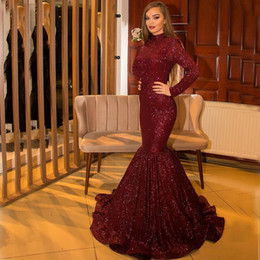 luxury pageant sashes NZ - 2019 Sexy Burgundy High Neck Mermaid Evening Dress Luxury Sequined African Long Sleeves Sheath Prom Dresses Long Formal Party Pageant Gown
