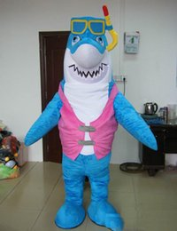 $enCountryForm.capitalKeyWord Australia - new High quality hot blue cloth shark mascot costume for adult with diving glass
