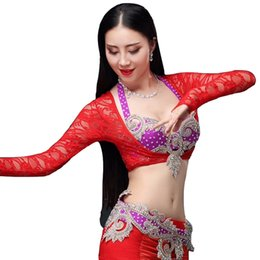 Discount lace spandex bodysuit - 2018 Women Dancewear Accessories Long Sleeves Lace Jacket Belly Dance Bottoming Shirt Bodysuit Chest Support (Jacket onl