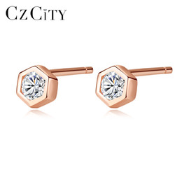 White Rose Earrings Studs Australia - PAG&MAG New Luxury Lady 925 Sterling Silver Tiny Geometric CZ Crystal Stud Earring For Women Rose Gold Color Daily-life Brincos Rated 5.0