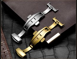$enCountryForm.capitalKeyWord Australia - Stainless Steel Solid Double Push Button Fold Watch Buckle Butterfly Deployment Clasp Watch Strap 10mm 12mm 14mm 16mm 18mm 20mm 22mm