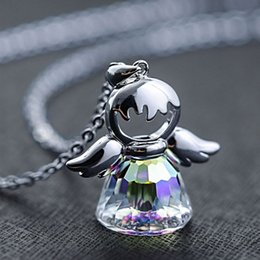 $enCountryForm.capitalKeyWord Australia - Lovely Austria Crystal Angel Pendant Necklace Silver Color Chain Necklace For Women Girlfriend Choker Sweater CZ Jewelry Gift