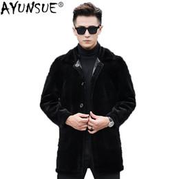$enCountryForm.capitalKeyWord NZ - AYUNSUE Real Wool Fur Coat Men Autumn Winter Sheep Shearing Jacket Long PU Leather Jacket Two Side Wear Men's Fur Coat KJ1417