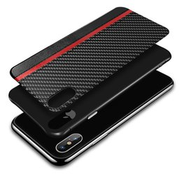 Wholesale For Iphone XR XS MAX X S plus cell phone case carbon fiber leather texture case cover for Samsung Galaxy S8 S9 S10 PLUS luxury