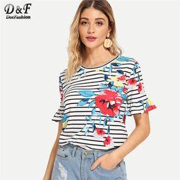 Korean Floral Shirt Wholesale Australia - Dotfashion Striped Floral Print Flounce Sleeve Tee Women 2019 Summer Casual Harajuku T-Shirt Short Sleeve Korean Clothes Tops