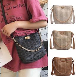 Wholesale Straw Ladies Handbags Australia - Fashion ladies bag portable handbag straw versatile Messenger bag solid color shoulder small square Dropship Y604