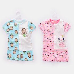 Wholesale Newborn Baby Clothing Summer Cartoon Short Sleeve T shirt Pants Suits Jumpsuit Toddler Romper Cotton Multi Colors