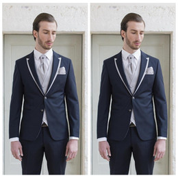 $enCountryForm.capitalKeyWord Australia - Formal Groom Men Tuxedos Tailor Made For Wedding Slim Fitted Two Buttons Groomsmen Tuxedos Peaked Lapel Man Business Suit(Jacket+Pants+Vest)