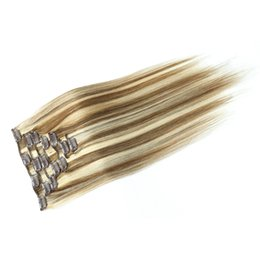 Clip Human Hair Extensions Remy 24 UK - 12 inch to 28 inch Piano Color Russian Virgin Remy Human Hair Clip on Hair Extension