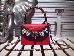 $enCountryForm.capitalKeyWord Australia - Luxury Bag Genuine Leather shoulder bag with Pearls and studs bamboo handle Cross Body bag Fox head closure.