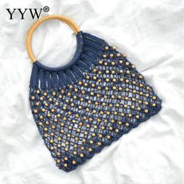 $enCountryForm.capitalKeyWord Canada - 2019 New Hollow Straw Bohemia Vintage Bead Handbags Handmade Woven Round Handle Tote Bag Women Blue Female Beach Bags Handbag