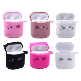 3d cute cat case Canada - For Apple AirPods 3D Cute Cat Case Protective Shockproof Charging Portable Bluetooth Earphone Cover Cases Gifts Wholesale