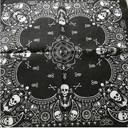$enCountryForm.capitalKeyWord NZ - 2019 New Fashion Hip Hop 100% Cotton Skull Bandana Square Scarf Black Paisley Bicycle Headband Printed For Women Men Boys Girls