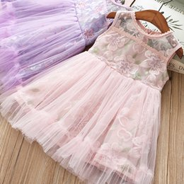 Kids Purple Tutu Australia - Lovely Girls Princess Western Party Embroidery Floral Tulle Dress Sleeveless Candy Pink Purple Color Tutu Kids Dresses