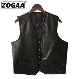$enCountryForm.capitalKeyWord NZ - Mens Waistcoat Black Biker Vest Genuine Leather Motorcycle Rock Sleeveless Jacket Male Autumn Plus Size Clothing 4XL For Men