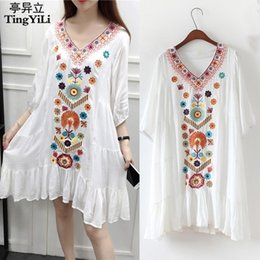 $enCountryForm.capitalKeyWord Australia - Tingyili Embroidery Bohemian Beach Dress Vintage Floral Ethnic Women Dress Summer Black Red Beige Blue White Short Dress C19041001