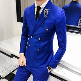 Boutique Dresses Suits Australia - Luxury Royal Men's Suit 3 sets Fashion Boutique Double-breasted Solid Color Wedding Dress New Slim Business Banquet Formal Dress