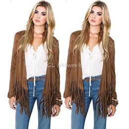 Tassel fringe jackeT online shopping - Spring Fall Women Clothing Outwear Outfits Fashion Short Cardigan Coat Tassel Fringe Casual Loose Jacket Chic Khaki