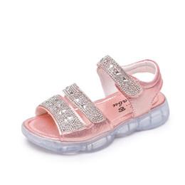 China Kids Girls Sandals Children shoes Summer fashion girl soft bottom Rhinestone little princess sanda Shoes size 26-36 cheap little girls leather sandals suppliers