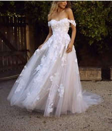 Autumn Colored Wedding Dresses UK - 2019 A-line Lace Tulle White Champagne Colored Wedding Dresses Off the Shoulder Short Train Simple Colorful Boho Bridal gowns Custom Made