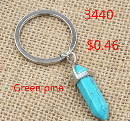 $enCountryForm.capitalKeyWord Australia - 5 colors Hexagon Prism Natural Stone Pendant Key Rings Point Chakra Healing Bullet Shape Crystal Keychain Jewelry for women men