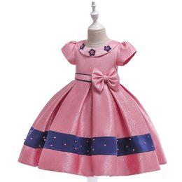 $enCountryForm.capitalKeyWord UK - 2019 Flower girl dresses beaded stain Doll collar princess dresses girls Pompon yarn bow children Princess party wedding birthday Dresses