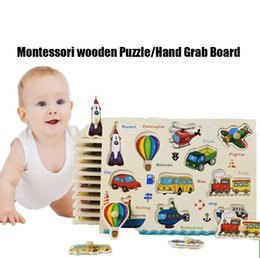 Wholesale Baby Toys Montessori wooden Puzzle Hand Grab Board Set Educational Wooden Toy Cartoon Vehicle Marine Animal Puzzle Child Gift