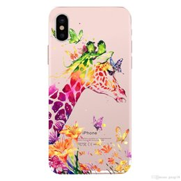 $enCountryForm.capitalKeyWord Australia - 3D Cute Cartoon Animals Three Flower Giraffe Tpu Soft Painting Case Cover for Iphone X XS MAX XR 6 6S 7 7Plus Transparent Case