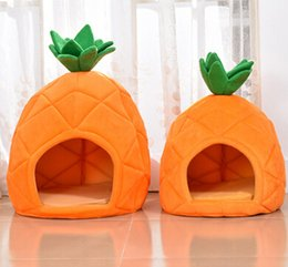 cute pet beds Australia - Pineapple Shape Cute Pet House Creative Lovely Dog Kennel Cat Nest Puppy Kitten Teddy Soft Bed