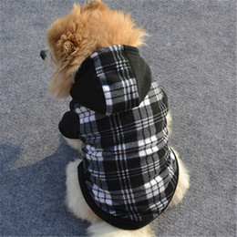 Costumes Clothes Australia - New Winter Pet Dog Clothes Small Dogs Warm Fleece Plaid Dog Hoodies Sweater Sport Sweatshirt Coat Jacket Hooded Costume Apparel