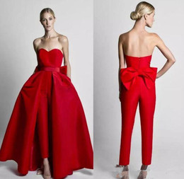 Discount detachable trains for wedding dresses Krikor Jabotian Modest Red Jumpsuits Wedding Dresses With Detachable Skirt Strapless Bride Gowns Party Pants for Women Custom Made Z77
