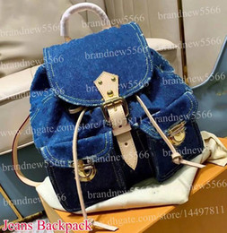 Soft Jeans Australia - Top Quality Design Men's Jeans Backpack Bag 30cm Genuine Leather Patchwork Cowboy Women's Fashion Double Shoulder Bags 44460 Unisex Backpack