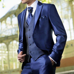 $enCountryForm.capitalKeyWord Australia - Custom Made costume homme new bright Blue Mens Suits 3 Piece 2019 New Arrival tuxedos for men Party tuxedos Wedding men Suit