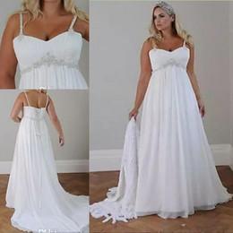 $enCountryForm.capitalKeyWord Australia - Crystals Plus Size Beach Wedding Dresses Corset Back Spaghetti Straps Chiffon Floor Length Empire Waist Elegant Bridal Gowns Sleeveless
