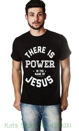 t shirt name printing NZ - Living Water Fashion Men's Christian Novelty T shirt Power In The Name Of Jesus Man Print T shirt Hipster